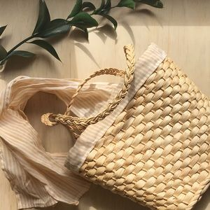 Boho Basket Bag Woven Straw Purse Tote Bow